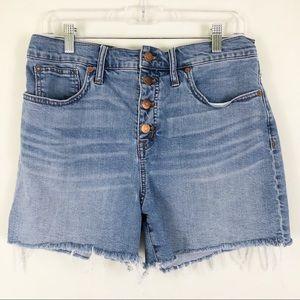 Madewell Button Front Denim Cut Off Shorts Sz 29